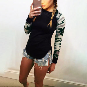 Women's Causal Slim Round Neck Camouflage Tops Long Sleeve Pullover T-Shirt