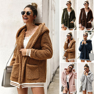Women Coat Cardigan Autumn Winter New Stripe Pocket With Hat Warm Fashion