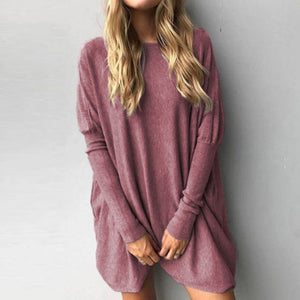 Women Long T-shirt Solid Color Casual Fashion Loose Long Sleeve Tops Soft