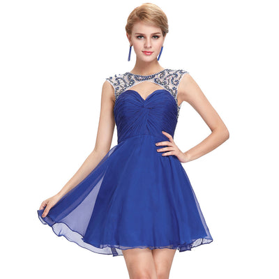 Grace Karin Women's Blue Chiffon Sleeveless Hollowed Front Open Back Ruched bodice Mid-Thigh Prom Dress