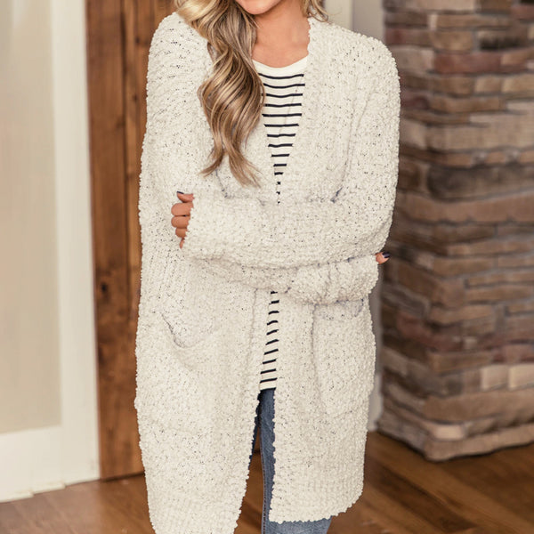 Women Pocket Popcorn Cardigan Sweater Coat Autumn Winter Long Sleeve Solid Color