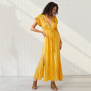 Women's Bohemian Yellow Sexy Hollow Embroidered V-neck Short Sleeve Split Dress