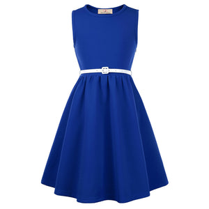 GRACE KARIN Children Kids Girls Sleeveless Round Neck A-Line Skater Dress_Blue