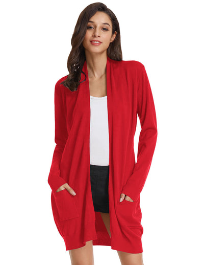GK Women's Classic Open Front Long Knitting Coat Knitwear Cardigan
