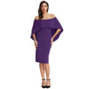 GRACE KARIN Straight Neck Off the Shoulder Pencil Dress with voluminous drape falls to the elbow -Purple