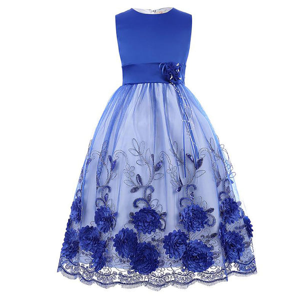Green and Blue Multi Layers Tulle Netting Lace Princess Flower Girl's Dress - PRESALE