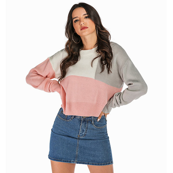 Women's Casual Loose Round Neck Sweater Tops Knitwear Long Sleeve Pullover