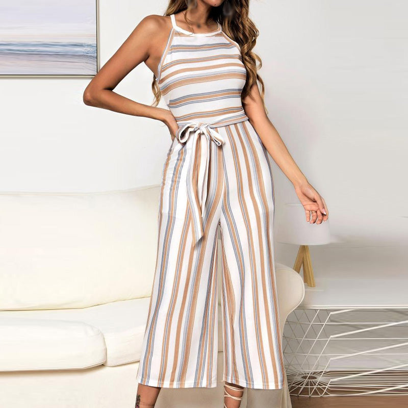 Women Girl Fashion Striped Sleeveless Round Neck Party Jumpsuit Romper Holiday