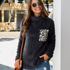 Women Leopard Print High Collar Pocket Tops Long Sleeve Blouse Casual Fashion