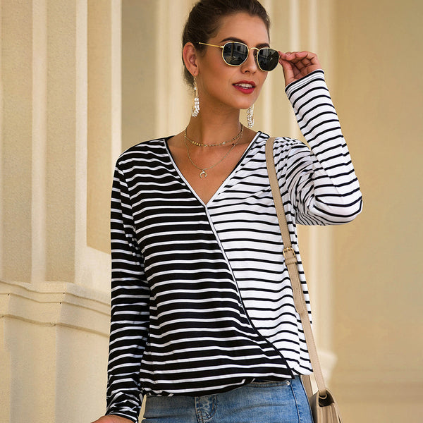 Women Striped Color Stitching T-Shirt V-neck Long Sleeve Blouse Loose Tops