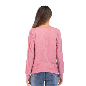 Women's Long Sleeve T-shirt Solid Color Loose Round Neck Bottoming Tops