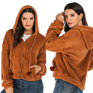Women's Casual Warm Jacket Solid Color Loose Hooded Pocket Zipper Tops