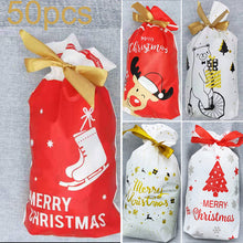 Load image into Gallery viewer, 50pcs Xmas Drawstring Wedding Favours Christmas Candy Wrapping Bag 15*23.5*6cm