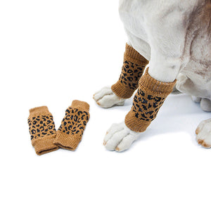 4Pcs/Set Winter Pet Dog Leg Socks Zebra Leopard Dots Print Leg Warmers