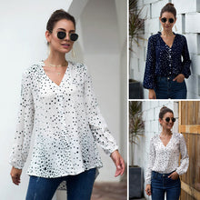Load image into Gallery viewer, Women's Fashion Tops Blouse Casual V-Neck Star Print Long Sleeve Irregular