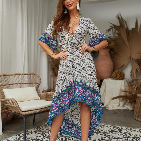 Women Summer Deep V-Neck Boho Floral Irregular Half Sleeve Beach Long Dress