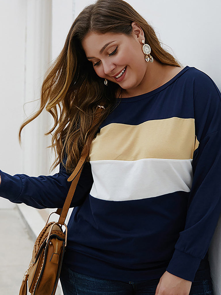 Women Plus Size Long Sleeve Tops Round Neck Stitching Casual Loose Shirt