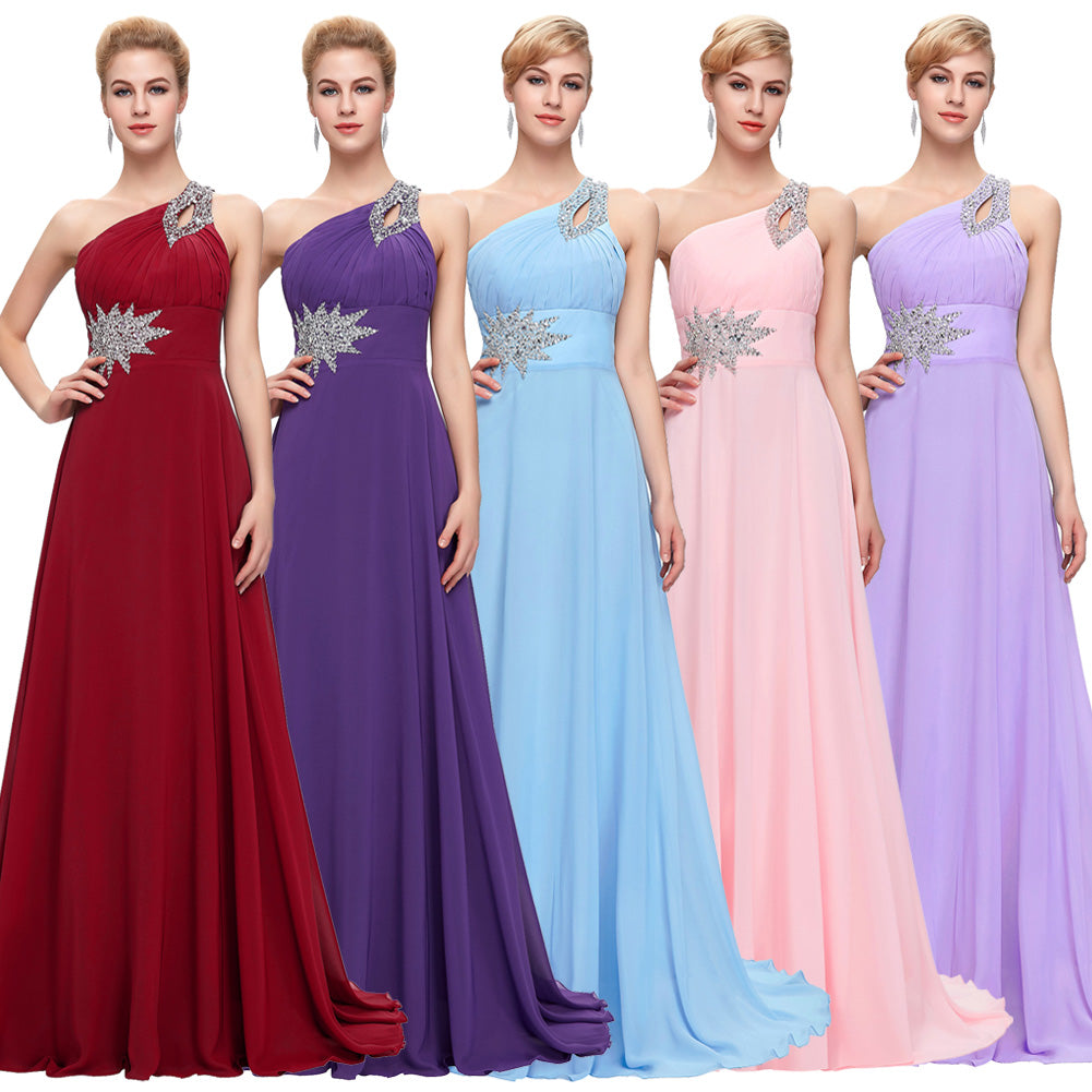 GK Stock One Shoulder Chiffon Ball Gown Evening Prom Party Dress 8 Size US 2~16