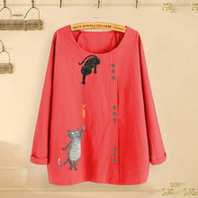Load image into Gallery viewer, Women's Cat Fish Print Tops Round Neck Long Sleeve Cotton Linen Loose Casual