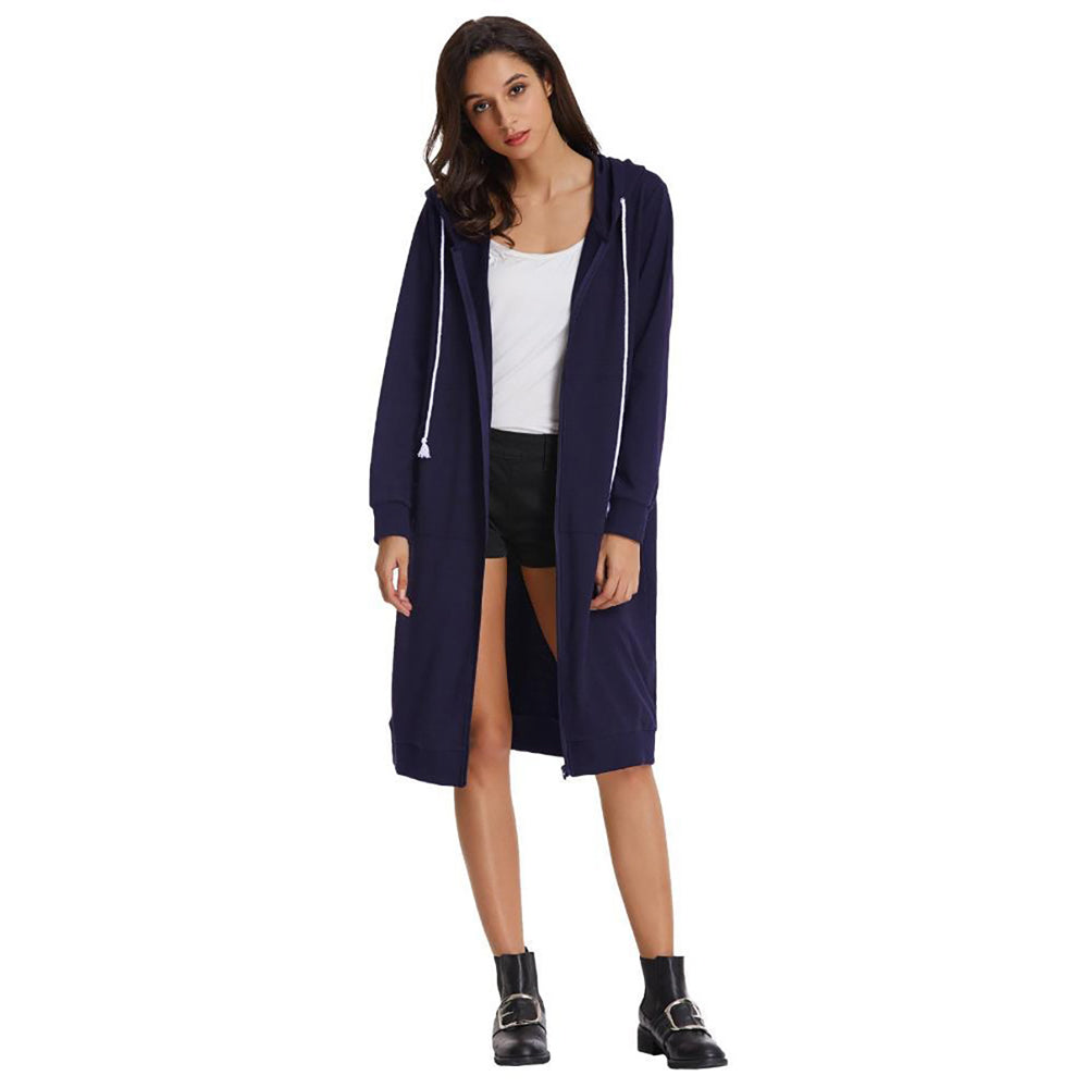 Women's Casual Long Sleeve Zipper Front Hooded Long Coat