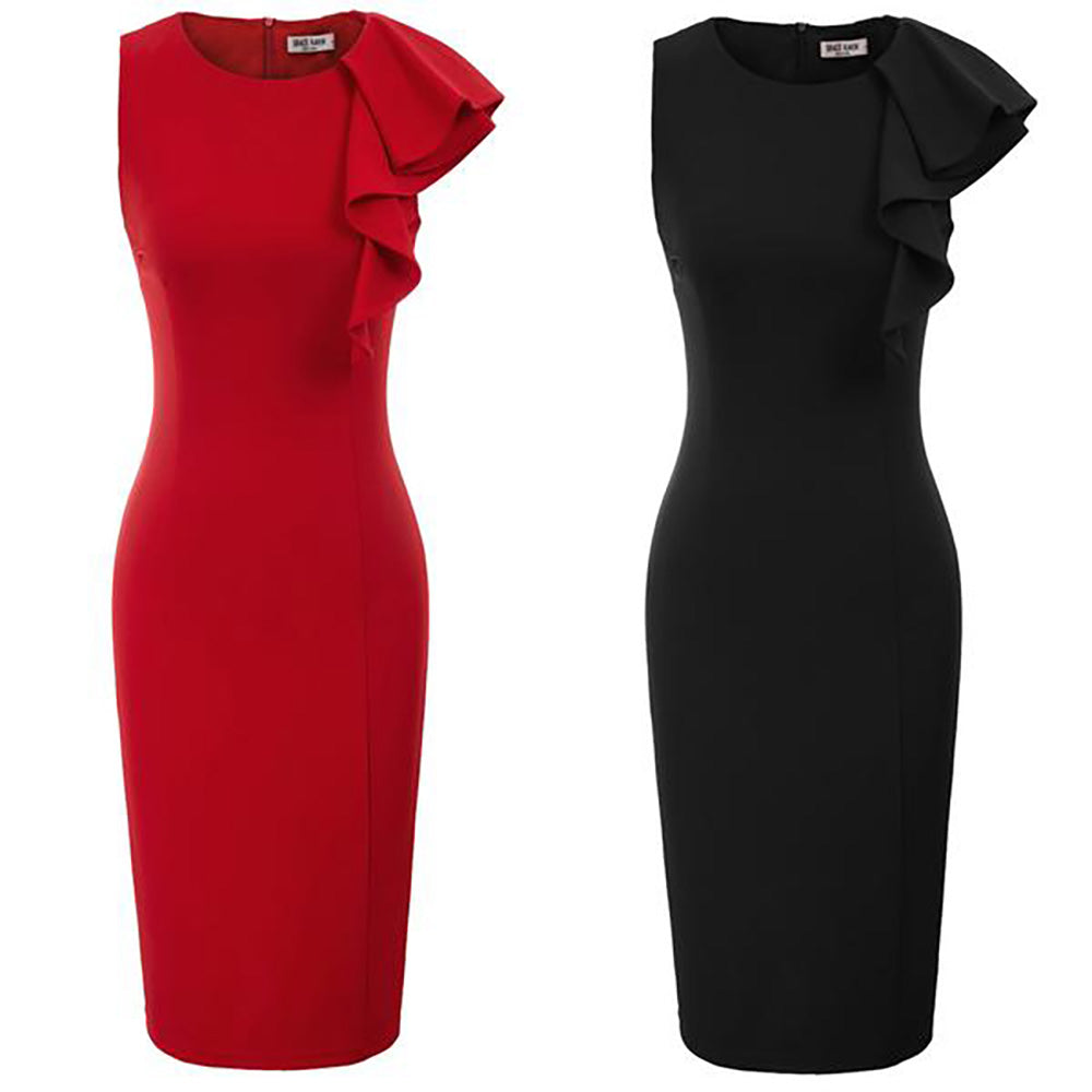 GK Women Sleeveless Crew Neck Ruffle Decorated Hips-Wrapped Bodycon Pencil Dress