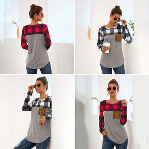 Plaid Splice Pocket Tops