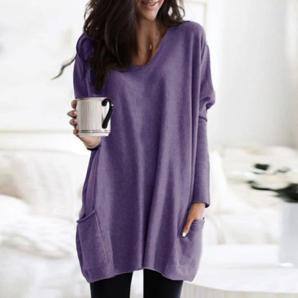 V-Neck Long Sleeve Pocket Casual Loose Sweatshirt