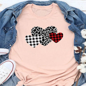 Checked Leopard Print Heart Sleeve T-Shirt