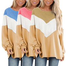 Load image into Gallery viewer, Round Neck Bat Shirt Colorblock Long Sleeve Top