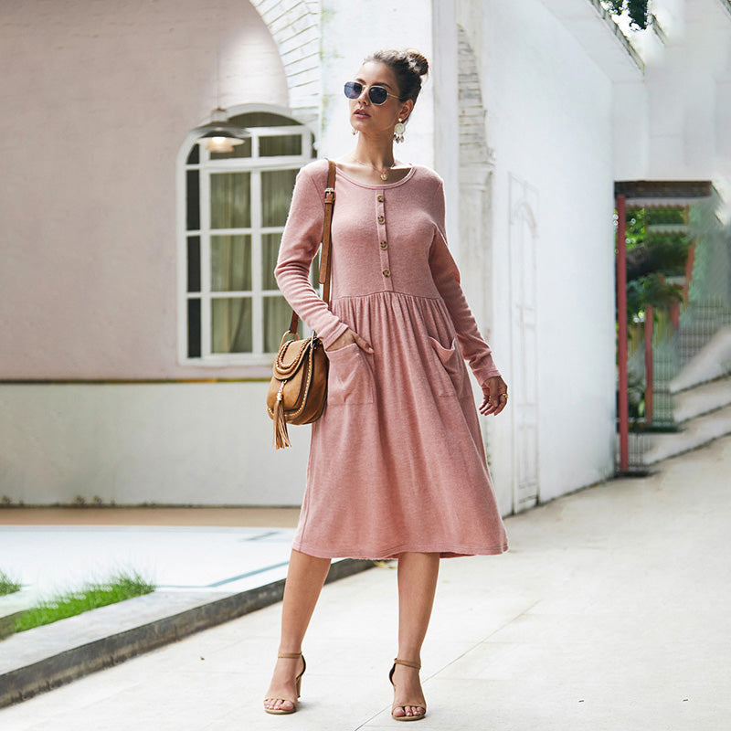 Women Below-Knee Dress New Long Sleeve Pocket Button Solid Color Fashion - PRESALE