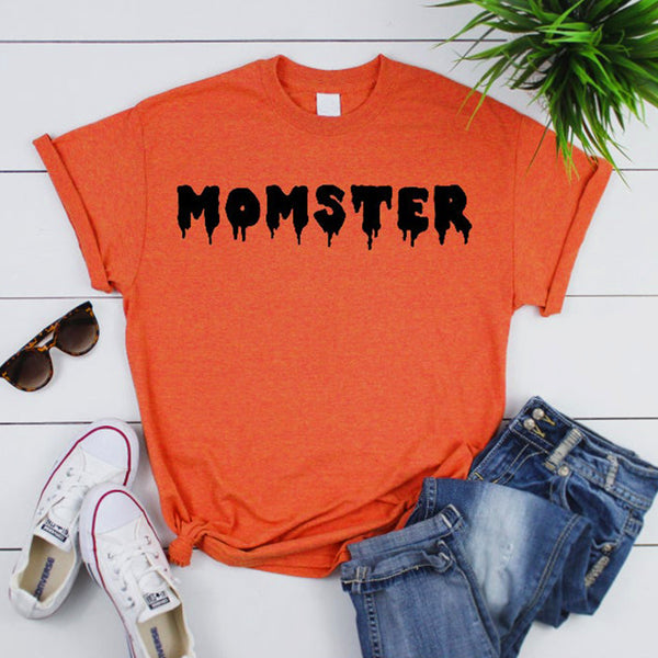 Mulheres T-Shirts Tops MOMSTER HALLOWEEN O-Neck Manga Batwing Curto Moda