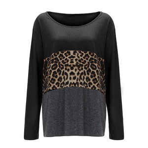 Leopard Printed Splicing O-Neck Blouse