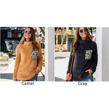 Load image into Gallery viewer, Women Leopard Print High Collar Pocket Tops Long Sleeve Blouse Casual Fashion