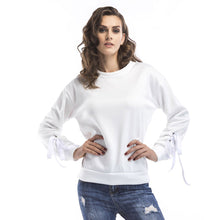 Load image into Gallery viewer, Women's Casual Round Neck Long Sleeve Tops Warm Pullover Sweatshirt Solid Color