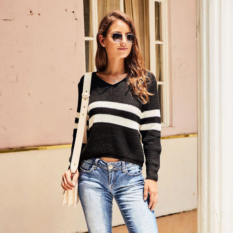 Women's Fashion Striped V-neck Sweater Long Sleeve Knitting Casual Tops - PRESALE