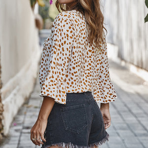 Wave Dot Print Knotted Short Shirt