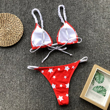 Load image into Gallery viewer, Star Print Beach Split Bikini