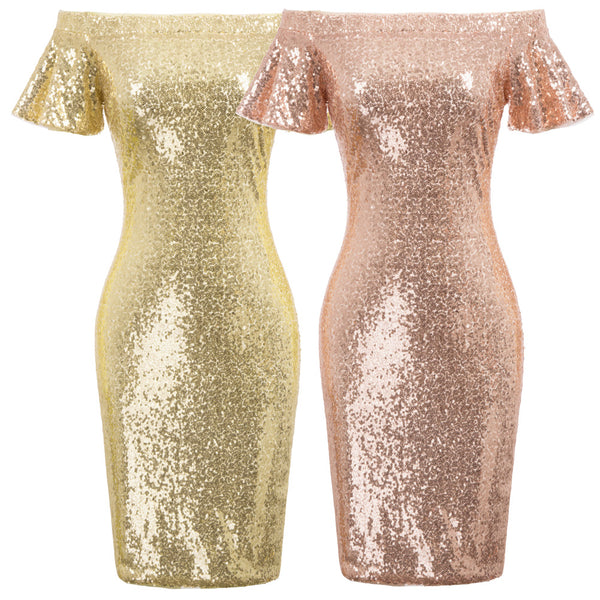 GK Sexy Women's Sequined Short Sleeve Off Shoulder Hips-Wrapped Bodycon Dress