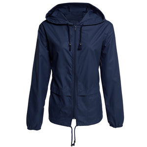 Women's Casual Outdoor Hiking Hooded Jacket Coat Waterproof Raincoat Plus Size
