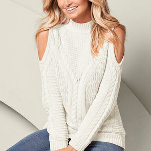 Women's Pullover Long Sleeve Sweaters - Round Neck, Solid Color