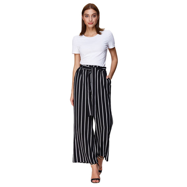 Women's Casual Striped High Waisted Wide Leg Long Pants