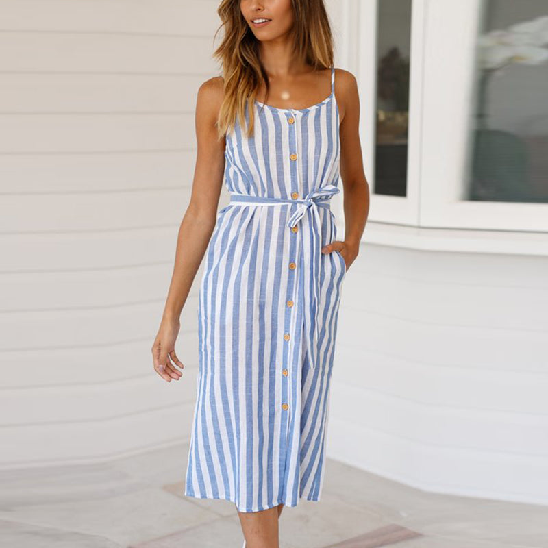 Summer Women Loose Casual Home Holiday Beach Strap Striped Dress Prom Long Skirt