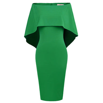GRACE KARIN Straight Neck Off the Shoulder Pencil Dress with voluminous drape falls to the elbow _Green