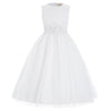 Cute Sleeveless Tulle Netting Tea Length Flower Girl Dress