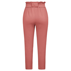 Women's Cropped Paperbag Waist Pants with Pockets