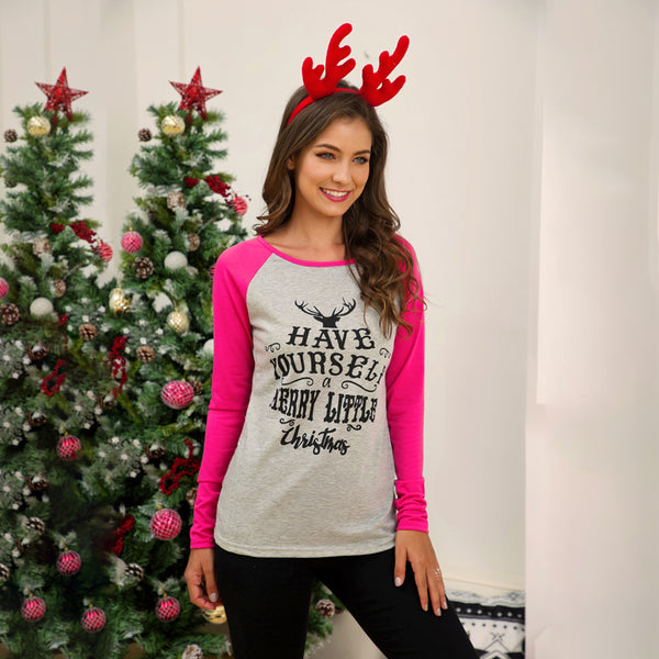 Women Have a little Christmas Tops T-Shirts Splice Raglan Sleeve Round Neck
