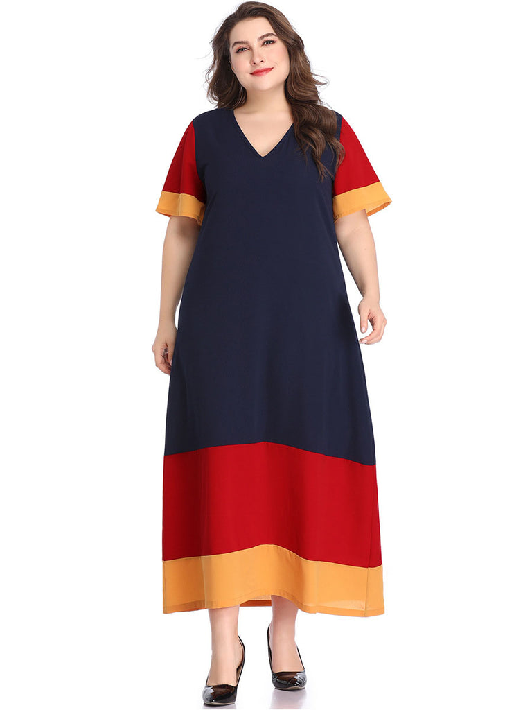 Women Summer Fashionable New Navy Blue Loose Short Sleeve Splice Plus Size  Dress