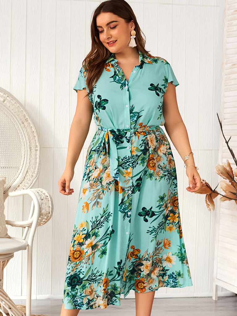 Women Summer V-Neck Short Sleeve Plus Size Lace-Up Floral Button Down Dress
