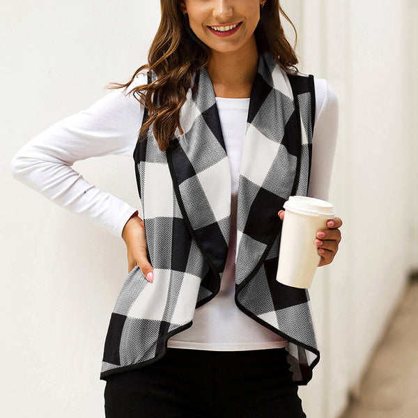 Women's Lapel Fashion Plaid Cardigan Vest Coat Sleeveless Jacket Outerwear - PRESALE