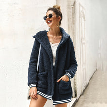 Load image into Gallery viewer, Women Coat Cardigan Autumn Winter New Stripe Pocket With Hat Warm Fashion